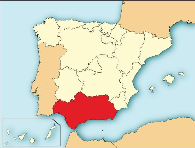 Выделенная на карте Испании Андалусия