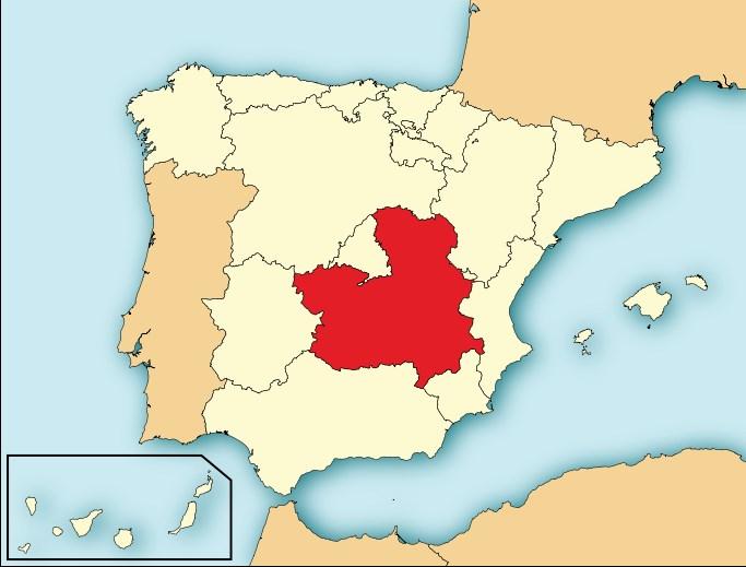 Выделенная на карте Испании Кастилия-ла-манча