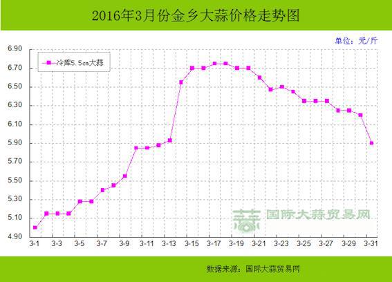 Март 2016 цена на Цзиньсян чеснок (в юанях за китайский фунт =500 гр)