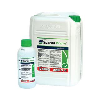 Пластиковая белая канистра с гербицидом для чеснока Ураган Форте