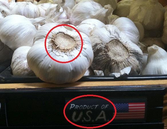 Китайский чеснок на прилавке в США