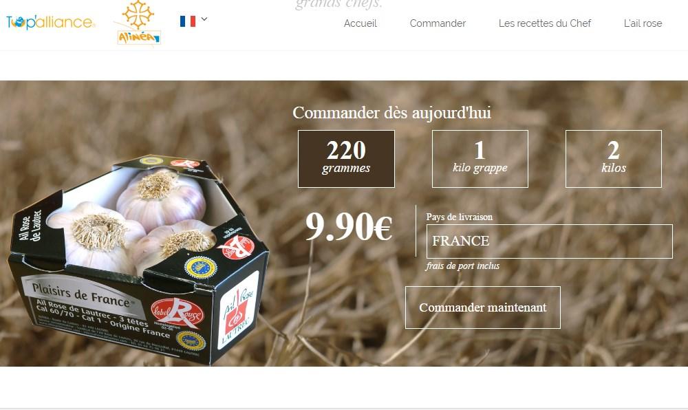 скриншот французского интернет магазина чеснока с розовым чесноком из Лотрека и ценой на него. 220 граммовая упаковка