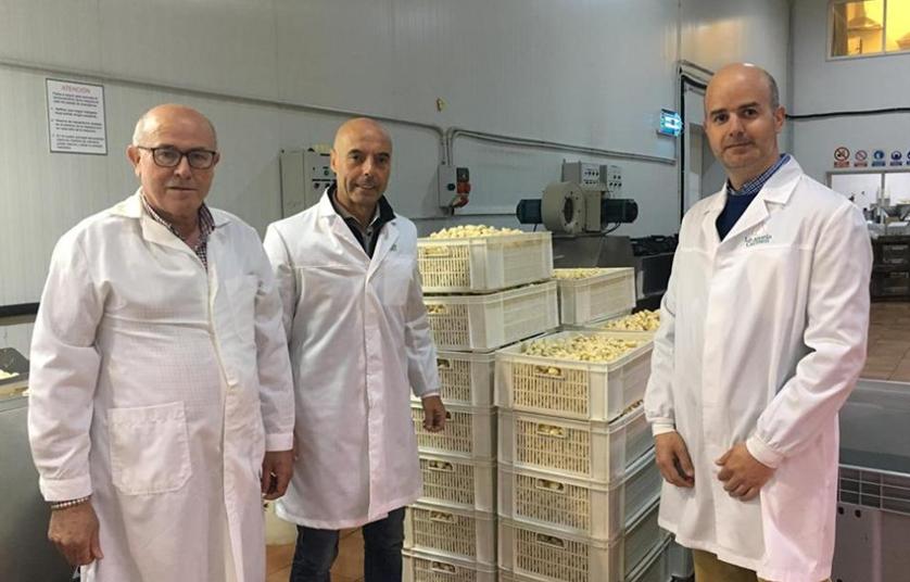 ящики счищенным чесноком на предприятии по переработке чеснока в Испании